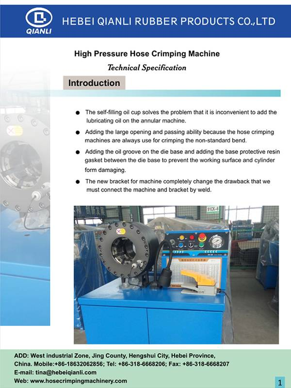 A PDF thumbnail of EN 856 4SP high pressure hose crimping machine.