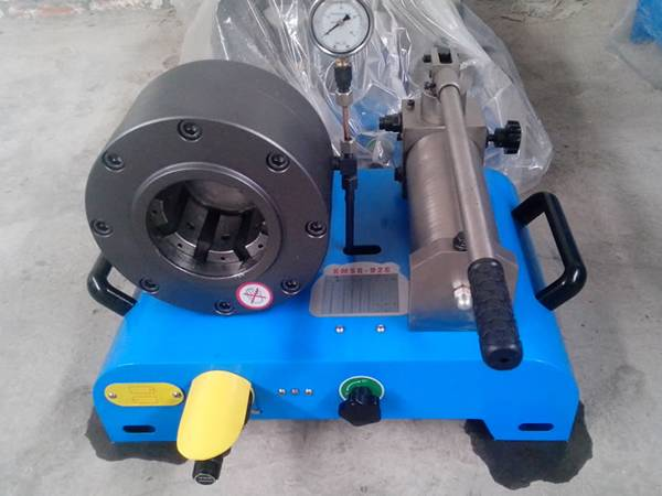 Light blue portable hose crimping machine